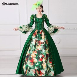 ad5f5d78a322 2017 Royal Green Floral Printed Marie Antoinette Dress Medieval Civil War  Southern Belle Ball Gowns Women Reenactment Clothing