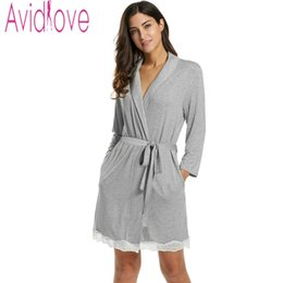 Wholesale Cotton Lace Nightgowns - Wholesale- Avidlove Women Sexy Robe Autumn Solid Cotton Nightgown Lace Decor Tunic Slim Nightwear Knee Length Sleepwear Bathrobe with Belt