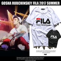 Wholesale Necked Womens - Gosha Rubchinskiy x Fila Tee Logo T-Shirts Mens Womens bonjour madameTee Shirt Hip Hop Triangle Printed Short Sleeve Streetwear T Shirts