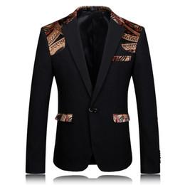 Wholesale Party Wear Designer Suits - Blazer Men 2017 Printed Blazer Stage Jacket Designer Party Wear Suit 4XL Men Slim Fit Blazer Stylish Black Khaki Suit Jacket