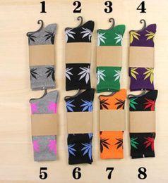 Meias da equipe de plantlife on-line-Top 24 cores Hot High Crew Meias Skate hiphop meias Folha Maple Leaves Meias Algodão Unisex Plantlife Meias B634