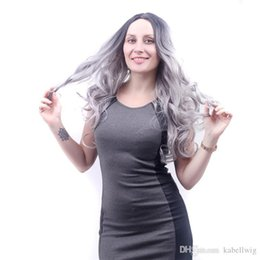 Wholesale Korean Natural Hair Wigs - Women Korean Wig Wavy Curly Ombre Black Root Grey Cosplay Anime Wigs Full Natural Wavy Heat Resistant Synthetic Hair Black Root Ombre