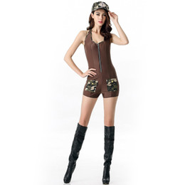 Wholesale Carnival Costumes Police - The Policewomen Stage Clothing Camouflage Uniforms The Lure Of The Uniform Role Play Clothing One-piece Pajamas