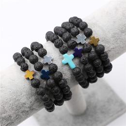 Wholesale Lava Rock Wholesale - Wholesale Natural Lava Stone Prayer Beads Charms Bracelets Anti-fatigue Silver Cross Volcanic Rock Men's Women's Diffuser Jewelry
