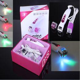 Wholesale Dns Revo - DNS derma roller REVO Galvanic Photon Micro Needle Roller LED Light dermaroller Skincare System 0.2MM-3.0MM