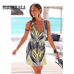 Wholesale Ethnic Tunics - Summer Autumn Women Dress Sexy Loose Sundresses Deep V Ethnic Stripe Print Tunic Beach Dresses Big Size SunDress