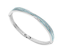 Wholesale Indian Free Channels - 2017 Hot Selling Simple Jewelry Women Crystal Bracelet Fashion Bangle Platimun Plated Make With Swarovski Elements FREE SHIPPING 5 Colors