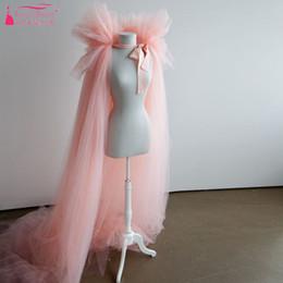 Wholesale tulle wraps shawls - Pink Tulle Cape wedding bolero Long Cheap Simple wedding accessories Fashion women bolero Bridal Long Jacket