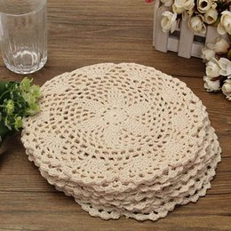 Wholesale Doily Cotton - Wholesale- Dozen Cotton Mat Hand Crocheted Lace Doilies 12Pcs Flower Shape Coasters Cup Mug Pads Home Coffee Shop Table Decoration Crafts
