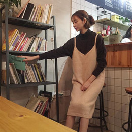 Wholesale Cheap Dresses Korea - Spring Clothes Korea Long Fund Small Fresh Easy Solid Color Knitting Sweater Camisole Longuette Thin Sleeveless Dress Woman cheap dresses