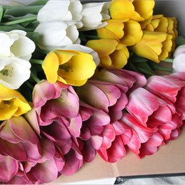 Wholesale Wall Decorations Tulips - 5pcs Tulips Flowers Single Long Stem Bouquet Beautiful Simulation Flower Wedding Wall Wedding Bouquet Home Decoration Party Accessory