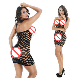 Wholesale Sexy Off Shoulder Nightgowns - Off Shoulder Free Size Black Lingerie with Hollow out Holes Sexy Chemise Sexy Sleepshirts Short See Through Nightwear
