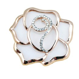 Wholesale Cc Clothing - Wholesale- XZ7 Camellia Flowers Luxury Brand Channel CC style Lapel Pins and Brooches Broche Broach Jewelry Fashion for Women Clothing