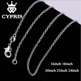 """Wholesale Thin Stainless Steel Necklace Chain - Wholesale- mother's day bulk 16""""18""""20""""22""""24"""" 1mm thin chain necklace chain silver lobster long 5pcs lot accessory findings 925 wholesale"""