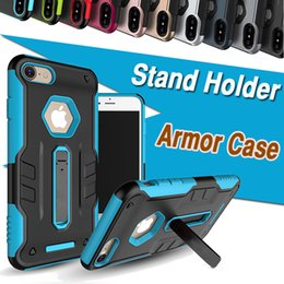 Wholesale Iphone Rubber Stand - For iPhone X Case 2 in 1 Double Layer Stand Holder Shockproof Rugged Armor Rubber Hybrid Hard PC+TPU Heavy Duty Cover For iPhone 8 7 Plus