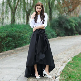 Wholesale Cheap High Waist Skirts - Real Pictures Black Fashion Skirts With Bow On Waist New High Low Taffeta Ruffles Women Long Cheap Skirts Cheap Formal For Party Dress