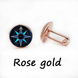 Wholesale Rose Cufflinks - Compass Rose cufflinks Compass cufflinks Navy Blue and Aqua Art cuff links