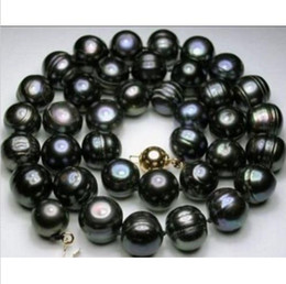 Wholesale Baroque Tahitian Pearl Necklace - 18''10-12mm AAA Natural tahitian black baroque pearl necklace