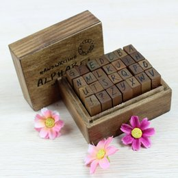 Wholesale Wooden Stamps Sets Gift - Wholesale- 28Pcs Set Ancient Capital Letter Wooden Box multipurpose Wood Rubber Stamp Gift for kids New