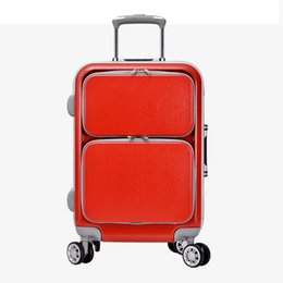 Wholesale Travel Trolley Wheels Luggage Bag - New High Quality Retro Luggage 24 Inch Men Commercial PC Aluminum frame 4 wheels Trolley Travel Suitcase bag woman sports Computer bags
