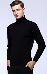 Wholesale Cotton Wool Turtlenecks - Mens Black Wool Turtleneck Sweater Slim Fit Solid Men Knit Cashmere Pullovers And Sweaters For Men Size S-2XL C1990
