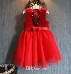 Wholesale Babies Dresses Red - free shipping fashion new autumn winter girl dress warm dress baby kids clothing