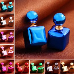 Wholesale Ball Earring Candy - 2017Cute candy stripe cube stud earrings double side pearl big ball earings fashion jewelry bohemian statement gifts for Women free shipping