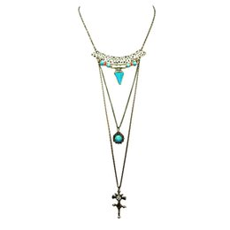 Wholesale Vintage Long Cross Necklace - Wholesale-New fashion jewelry vintage jewelry long chain double layer turquoise pendant cross pendant necklace gift for women girl N1811