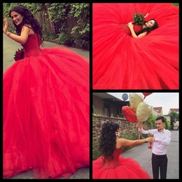 Wholesale Beach Weding Dresses - Red Wedding Dresses 2016 Turkey Ball Gown Country Western Weding Weeding Bridal Bride Dresses Wedding Gowns robe de mariage mariee