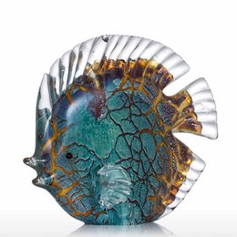 Wholesale Spotted Gift Boxes - Colorful Spotted Tropical Fish Tooarts Glass Sculpture Home Decoration Glass Fish AG1