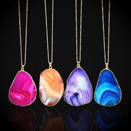 Wholesale Sliced Agates - 2017 fashion new natural stone agate slice choker necklace pendant gold chain cut pattern red agate amethyst 10pcs   lot wholesale