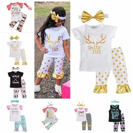 Wholesale Three Piece Suit Bow - Ins Clothing Sets T Shirts Pants Headband Girls Bow Lovely Outfits Arrow Letter Leather Tops Pants Kids Summer Casual Clothes Baby Suits H88