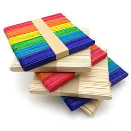 Wholesale Wooden Ice Cream Toy - 50Pcs Wooden Popsicle Ice Cream Stick Spoon Lolly Cake Holder Making Sticks Holder Colorful Kids Hand DIY Crafts Art Tool Puzzle Toy Gift