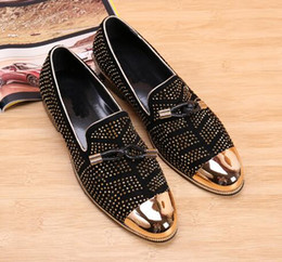 Wholesale Mens Pumps Shoes - 2017 New fashion Rivets studded Men Pumps Gold Metallic Studded Loafers Casual Party Wedding black color Mens Shoes Zapatos,size38-46