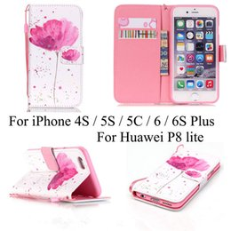 Wholesale Iphone 5c Flip Case Cover - Pink Flower PU Leather Wallet Flip stand Case Cover for iPhone 4S 5S SE 5C iPhone6  6S plus  Huawei P8 Lite