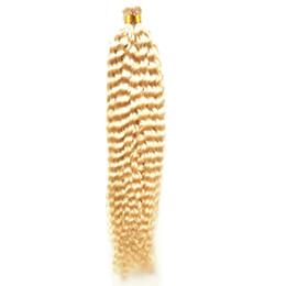 Hint bakire saç Kapsül Keratin Sopa I-İpucu İnsan Saç Uzantıları kinky kıvırcık 100g 1g / strand 100 s 613 Bleach Sarışın İnsan saç uzantıları nereden