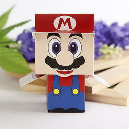 Wholesale Mario Favor Boxes - Wholesale- Cheerful Super Mario Favor Boxes Paper Chocolate Boxes Party Gifts Packaging Box 12pcs