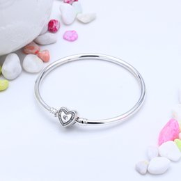 Wholesale Genuine 925 Sterling Silver - Genuine 925 Sterling Family Forever Heart Bracelet CZ Fit Pandora Charms Beads Factory Wholesale