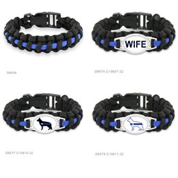 Wholesale Thin Blue Line K9 Canine Police Dog Patrol Dog Paracord Survival Bracelets Sports Christ Christianity Friendship Bracelets