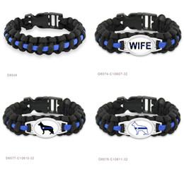 Wholesale Wholesale Survival Bracelet Charms - (10 PCS lot) Thin Blue Line K9 Canine Police Dog Patrol Dog Paracord Survival Bracelets Sports Christ Christianity Friendship Bracelets