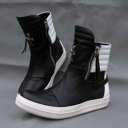 Wholesale Rubber Hip Boots Men - Dark Tide men's fashion boots personalized cross Hardware full leather high-top shoes tide shoes leather hip-hop lovers boots