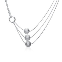 Wholesale Plants Sand - best gift Three sand beads sterling silver plate Necklace fit women,wedding 925 silver pendant Necklace with chains EN187