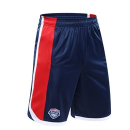 Wholesale Usa Team Basketball Shorts - Men USA Dream Team Basketball Shorts Loose Polyester Sport Training Active Shorts With Pockets For Male Big Size 5XL