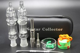 Wholesale Nail Cases - Mini Nectar Collector Kit With 10mm 14mm Titanium Nail Honey Straw Mini Glass Water Bong Glass Pipes Nectar Collector Zipper Case Kit