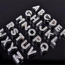 Wholesale alphabet fit bracelet - Alphabet Crystal Rhinestone Slider Letter Charm DHL 8mm Silver Bling Number A TO Z Fit Belt Wrist Strap Bracelets