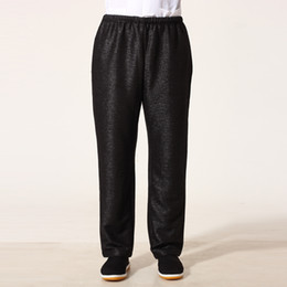 Wholesale Tai Chi Cotton Pants - Wholesale- Top Quality Black Chinese Men Pant Tai Chi Kung Fu Trousers Cotton Linen Costume Size S M L XL XXL XXXL MNP04