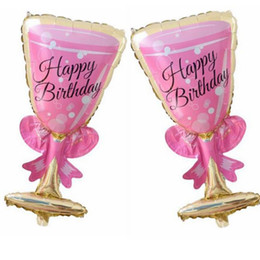 Wholesale Toy Wine Glasses - 50pcs lot Birthday Pink Cup foil balloons inflatable Pink wine glass globos birthday party decorations
