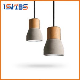 Wholesale E27 Light Socket Cord - Pendant Light Wood E27 Socket Retro Vintage Cement Pendant Lamp Hanging Lamp for Dining Room Indoor Decoration Droplight