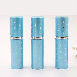 Wholesale Travel Bottles For Cosmetics - 10ML Blue color Hot Sale Mini Portable For Travel Aluminum Refillable Perfume Bottle With Spray Empty Cosmetic Containers With Atomizer