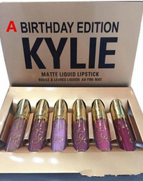 Wholesale Wholesale Violet Lips - New Kylie Matte Lord Metal Gold LIMITED EDITION KYLIE BIRTHDAY COLLECTION Lip gloss Kylie Birthday Edition Cosmetics Swatches gift 6pcs lot
